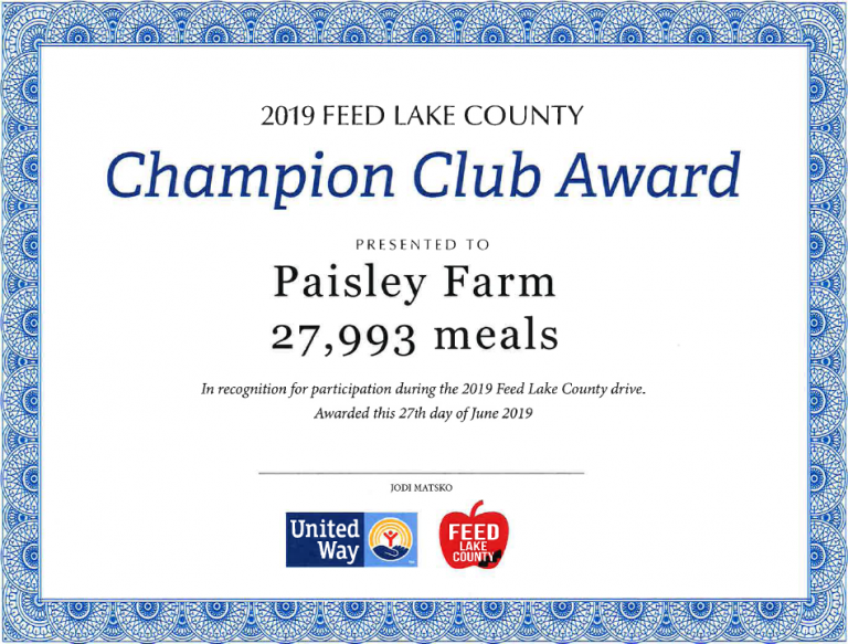 Paisley Farm received a certificate from United Way of Lake County for being the #1 largest food donor of the year.